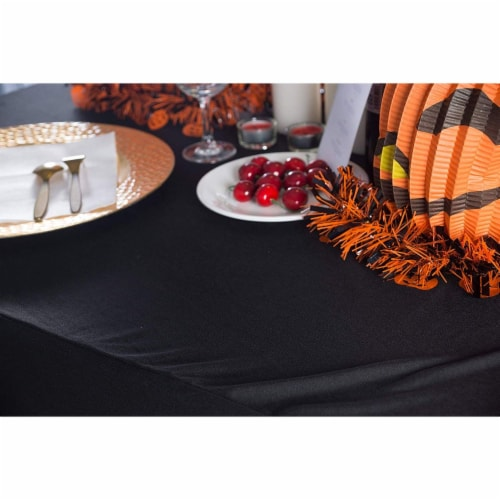Stretch Spandex Fitted Tablecloth Table Cover for 6ft. Rectangular Table Black Perspective: top