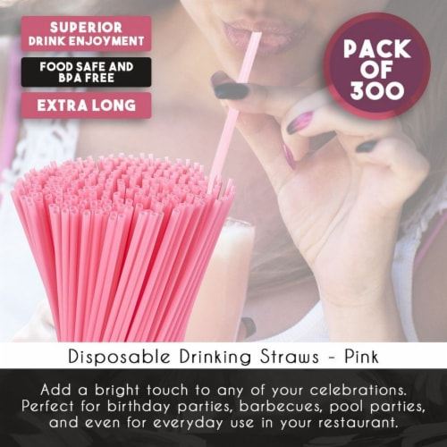 "300ct Plastic Pink Disposable Party Drinking Straws 10"" Perspective: top"