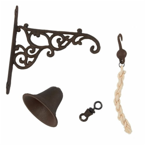 Juvale Wall Mounted Rustic Cast Iron Door Bell Chime, Brown Perspective: top