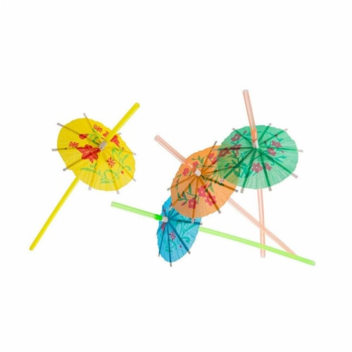 150x Disposable Tropical Hawaiian Luau Party Umbrella Cocktail Drink Straws Perspective: top