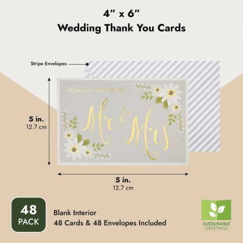 Wedding Thank You Cards with Striped Envelopes, Mr and Mrs (4x6 In, 48 Pack) Perspective: top