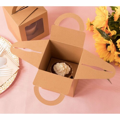 50-Pack Kraft Paper Cupcake Boxes with Clear Display Window, Brown, 3.7 x 4.2 x 3.7 Inches Perspective: top