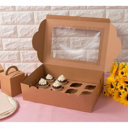 12-Pack Kraft Paper Cupcake Boxes Bakery Box with Display Window and Inserts Perspective: top