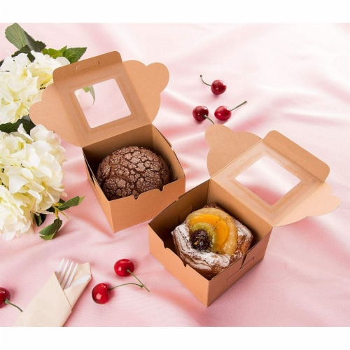 25 Pack Kraft Paper Cake Box with Display Window, 4 x 4 x 2.3 Inches, Brown Perspective: top