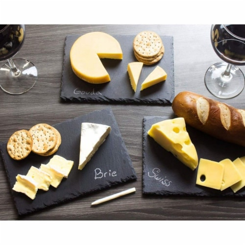 Slate Cheese Boards, Charcuterie Boards for Cheese and Meat (8 x 0.25 x 12 In, 6 Pc) Perspective: top