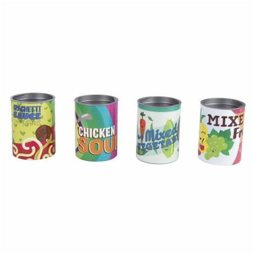 16-Piece Grocery Store Kids Pretend Play Stackable Cardboard Cans Toy Foods Perspective: top