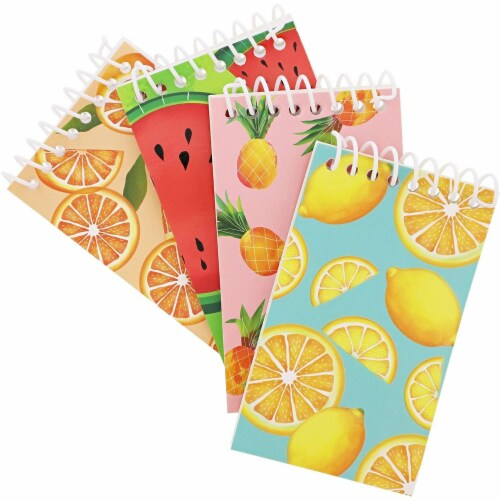 Juvale Mini Spiral Notebooks with 4 Fruit Designs (3 x 5 Inches, 24-Pack) Perspective: top