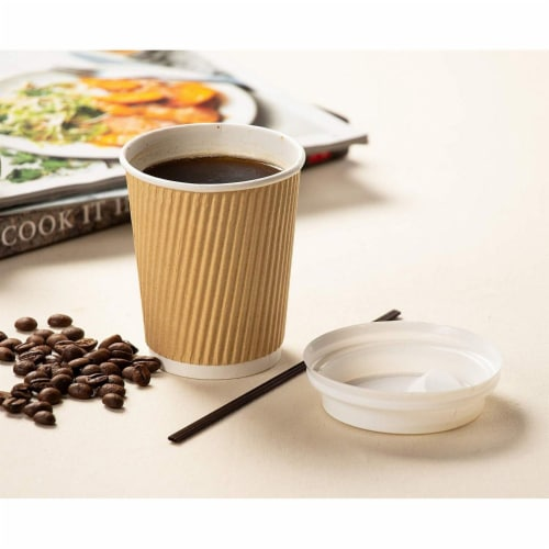 Disposable Coffee Cups Set - 50-Pack Kraft Paper 8-Ounce Insulated Ripple Cups Perspective: top