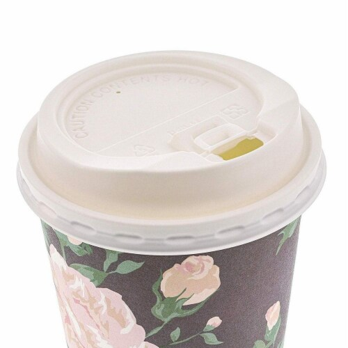 24 Pack Vintage Floral Paper Insulated Coffee Cups with Lids, 4 Designs, 16 Ounces Perspective: top