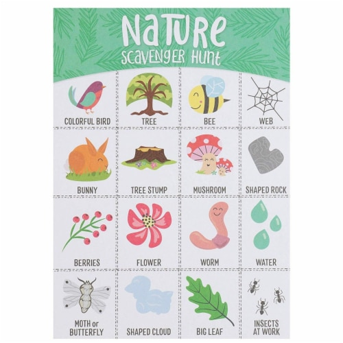 50x Nature Scavenger Hunt Game Hunt Set for Kids Childrens Outdoor Game Cards Perspective: top