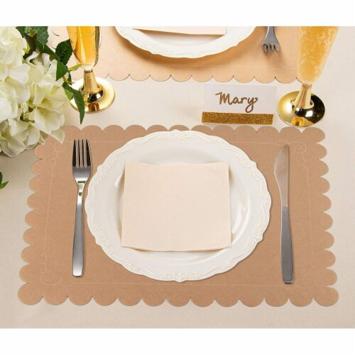 Juvale 100 Pack Disposable Placemats with Scallop Edge, Brown Kraft Paper (10 x 14 in) Perspective: top