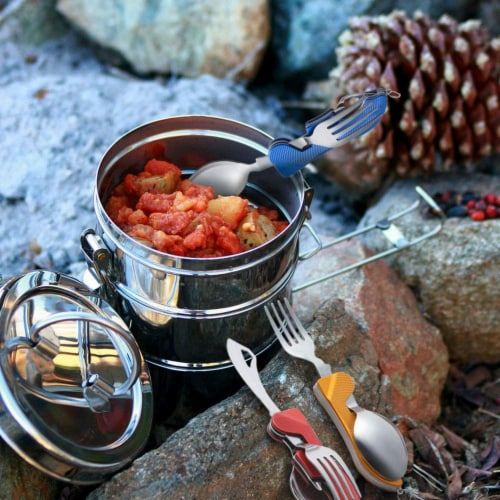 4-in-1 Camping Utensils - 3-Pack Camp Utensils Set, Stainless Steel Folding Perspective: top