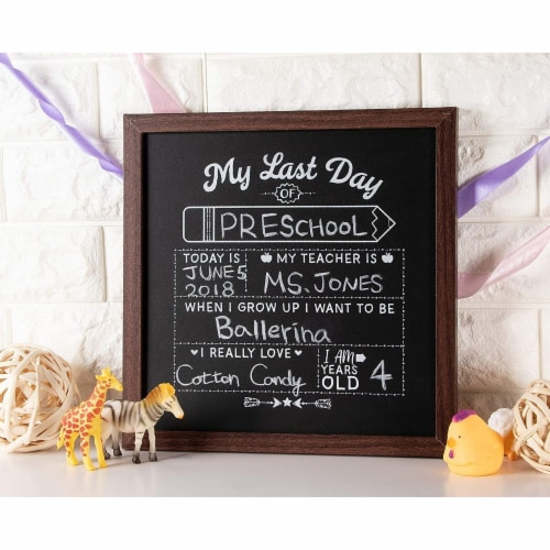 First and Last Day of School Chalkboard Sign, Teacher Classroom Supplies (2 Pieces) Perspective: top