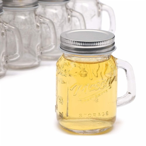 24 Pack Ball Clear Mason Jars 4 oz with Lids and Handles for Wedding Favors Perspective: top