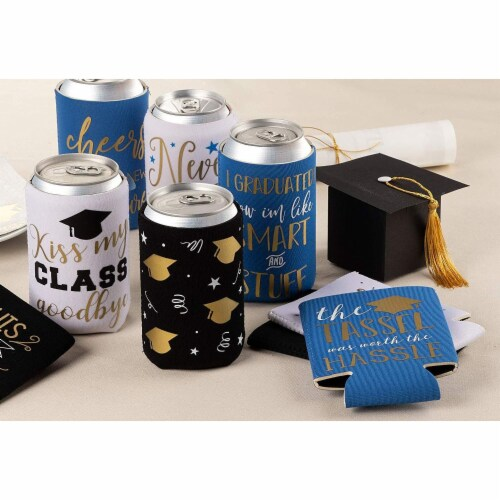 12x Graduation Beer and Soda Can Sleeves Fun Grad Party Favors Gifts Fits 12 oz Perspective: top