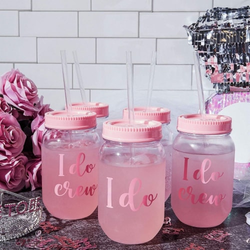 I Do Crew Plastic Mason Jar for Bachelorette Party and Bridal Shower (11+1) Perspective: top