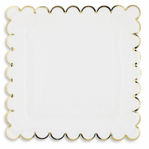 Juvale Blue Panda 48-Count White Party Paper Plates with Scalloped Gold Foil Edge, 9 Inches Perspective: top