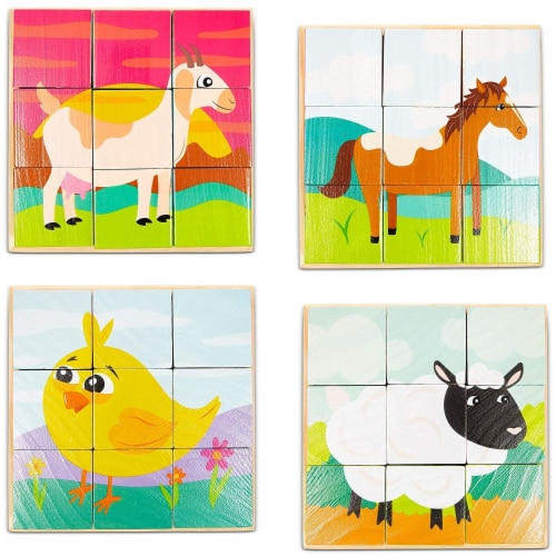 Wood Farm Animal Block Puzzles with Tray for Toddlers Kids (6 in 1), 6 Designs Perspective: top
