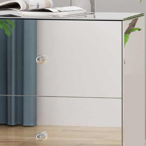 Althea Modern Mirrored Two Drawer Cabinet Perspective: top