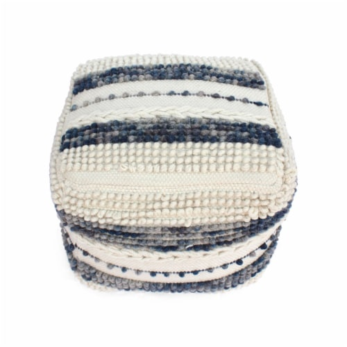 Christal Contemporary Wool and Cotton Pouf Ottoman Perspective: top