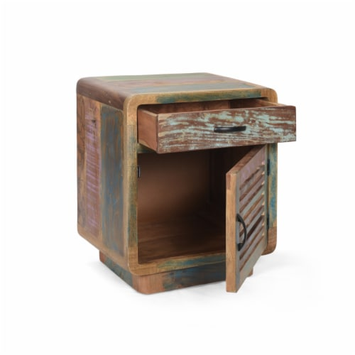 Emily Handcrafted Boho Reclaimed Wood Cabinet Perspective: top