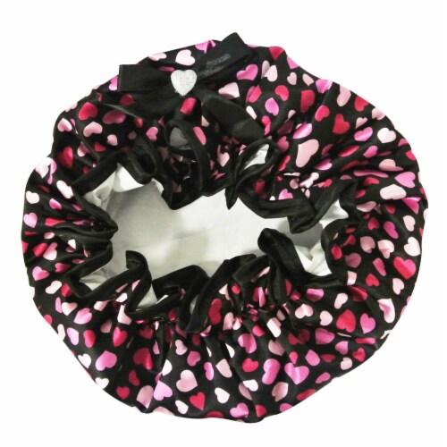 Kella Milla Stylish Satin Shower Cap, Hearts & Black Bow Perspective: top