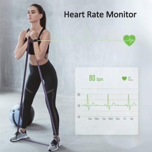 Letsfit Smartwatch Heart Rate Monitor Step Counter ID205 - Blue Perspective: top