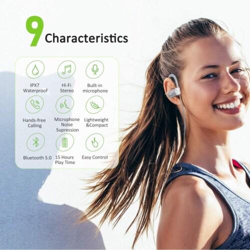 Letsfit U8L Bluetooth Headphones - Gray Perspective: top
