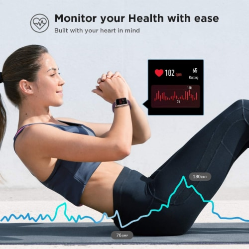 Letsfit ID205L Smartwatch Heart Rate & Activity Monitor - Purple Perspective: top