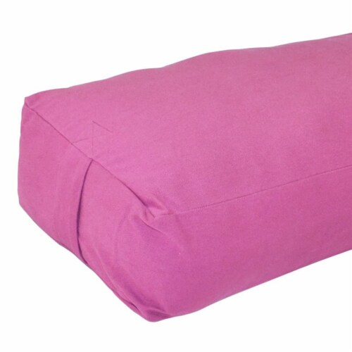 Yoga Accessories Max Support Deluxe Rectangular Travel Cotton Yoga Bolster, Pink Perspective: top