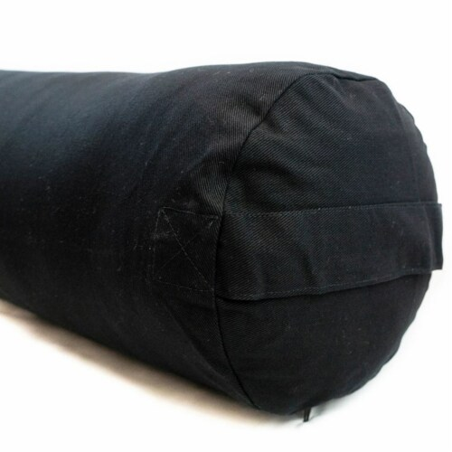 Yoga Accessories Supportive Round Cotton Restorative Yoga Bolster Pillow, Black Perspective: top