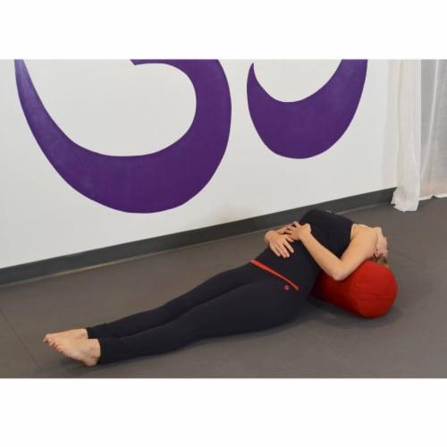 Yoga Accessories Supportive Round Cotton Restorative Yoga Bolster Pillow, Orange Perspective: top