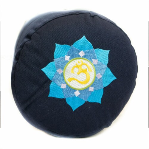 Yoga Accessories Supportive Round Cotton Yoga Bolster Pillow, Blue Embroidered Perspective: top
