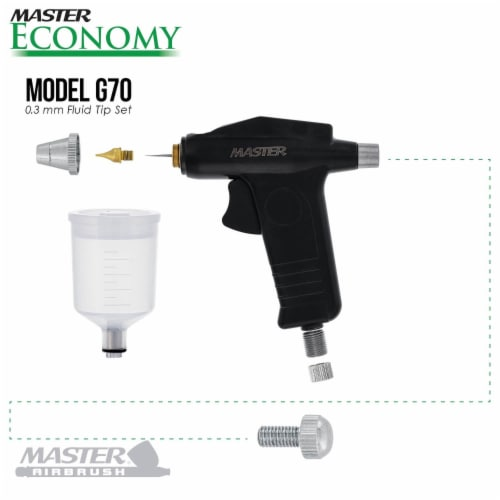 G70 Precision Trigger Style Gravity Feed Airbrush Set with 0.3mm Tip and 1/8 in. Air Inlet Perspective: top