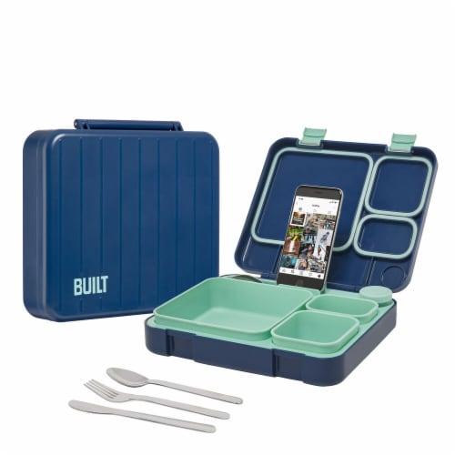 Built Gourmet Lunch Case & Utensils - Navy/Turquoise Perspective: top