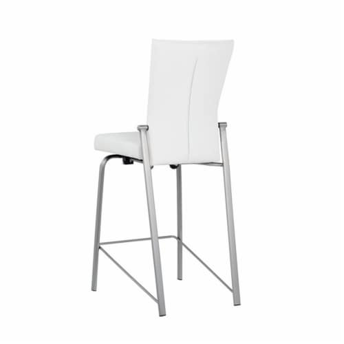 Milan Molly Motion Back Metal Counter Stool in White/Brushed Steel Perspective: top