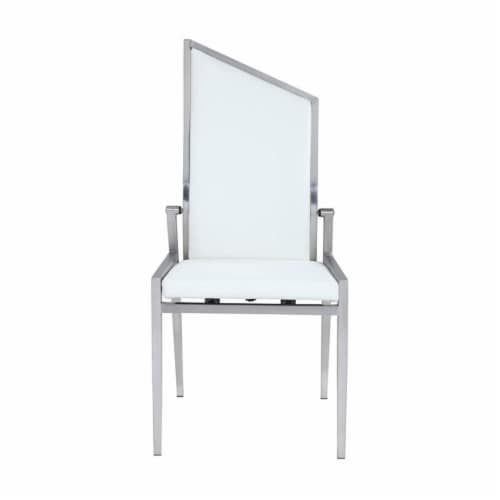 Milan Nala 41.5  Motion-Back Side Chairs in White/Brushed (Set of 2) Perspective: top