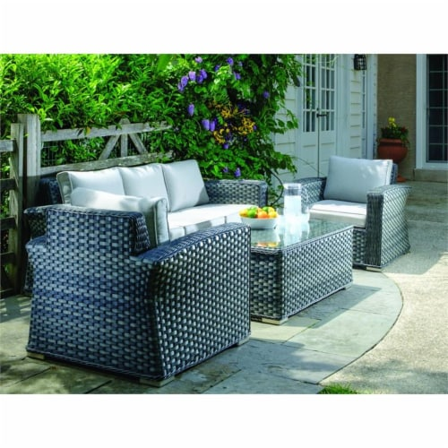 Alfresco Home Palisades 4-piece Resin Wicker Seating Group in Java Brown Perspective: top