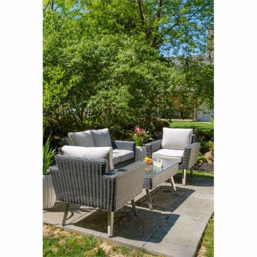 Alfresco Home Castlewood 4-piece Resin Wicker Seating Group in Stone Gray Perspective: top