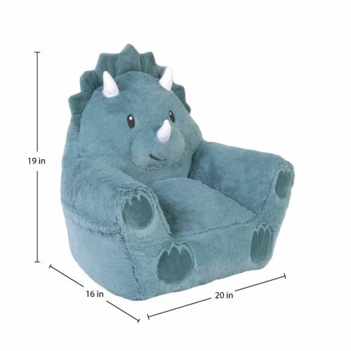 Cuddo Buddies Teal Dinosaur Plush Chair Perspective: top