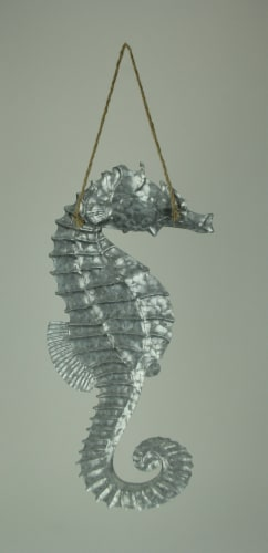 Galvanized Embossed Metal Art Seahorse Wall Decor Perspective: top
