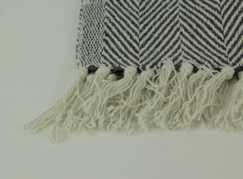 2-Tone Cotton Zig Zag Striped Fringed Throw Blanket, White/Grey - Gray Perspective: top