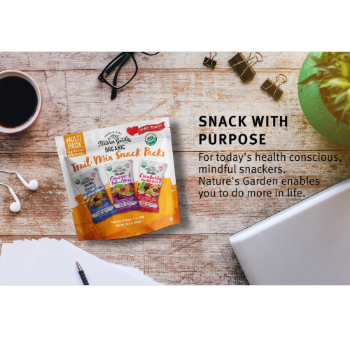 Nature's Garden Organic Trail Mix Snack Packs, 28.8 oz - 24 Individual Servings (Pack of 3) Perspective: top
