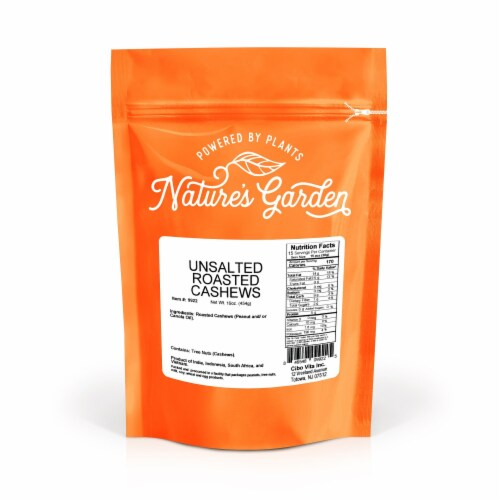 Nature's Garden Roasted Unsalted Cashews 16 oz Perspective: top
