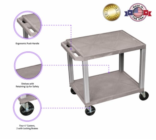 Luxor WT26-N Tuffy AV Cart - 2 Shelves Nickel Legs Perspective: top