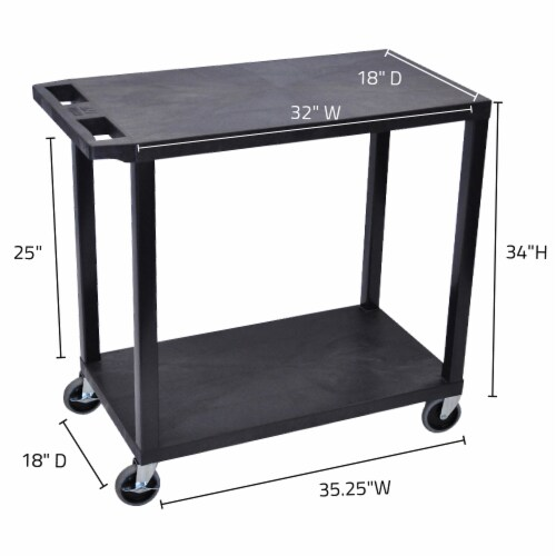 Luxor Black 32 x18 , Cart with 2 Flat Shelves Perspective: top