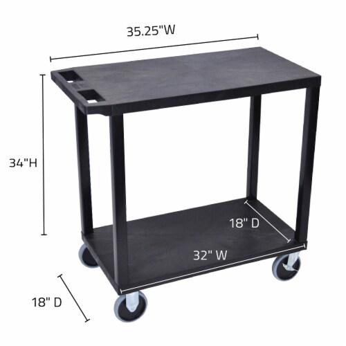 Luxor Black  18x32, Cart with 2 Flat Shelves Perspective: top