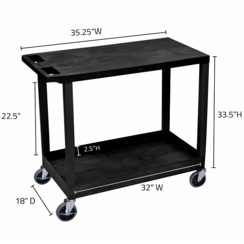 """Luxor 32"""" X 18"""" Cart - One Tub/One Flat Shelves - Black Perspective: top"""