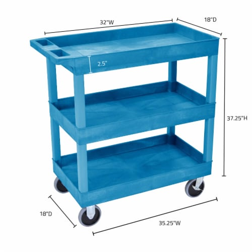 Luxor HD High Capacity 3 Tub Shelves Cart in Blue Perspective: top