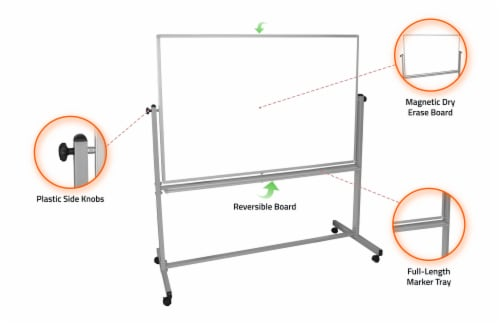Luxor Furniture MB6040WW 60x40 Mobile Whiteboard Perspective: top